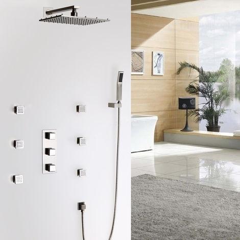Lujoso sistema de ducha termostático LED cuadrado en níquel cepillado Montaje de pared de válvula de ducha estándar Con LED 250 mm