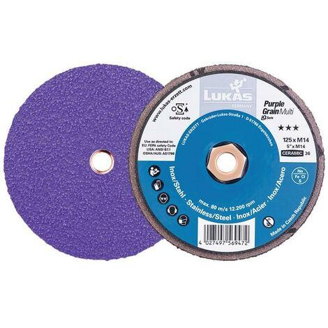 """main image of """"LUKAS Support pour disque abrasif compact Purple Grain Multi D125 mm granulation 36 droite grain céramique CO M14"""""""