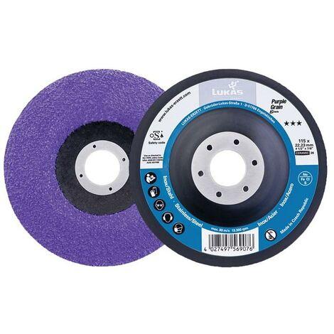"""main image of """"LUKAS Support pour disque abrasif compact Purple Grain Single D115 mm granulation 36 contre-coudé grain céramique CO perçage 22,23 mm"""""""