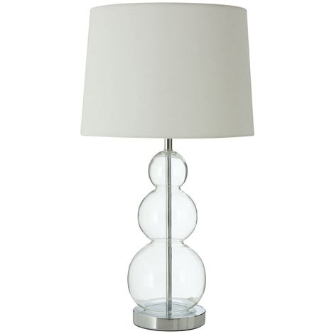 Luke Table Lamp, Glass Ball / Metal, Fabric Shade / UK Plug