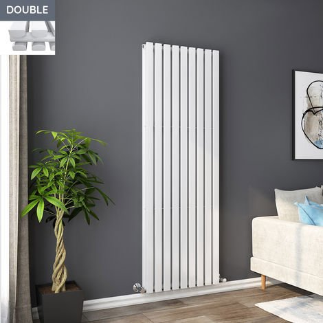 Lulea 1800 x 620mm White Double Rectangular Panel Vertical Radiator