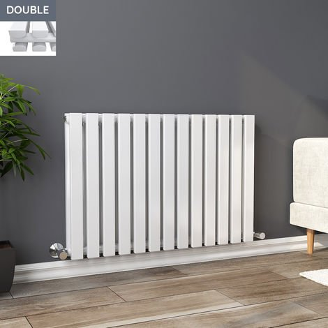Lulea 600 x 900mm White Double Rectangular Panel Horizontal Radiator