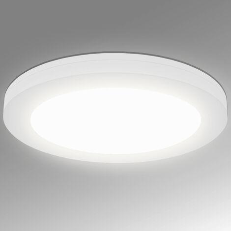 Lumare LED Plafonnier 18 W extra plat rond 1460 lm 225 mm remplace 120 W IP44, Plafonnier pour salon, salle de bain, cuisine, couloir, applique murale moderne blanc chaud [Classe énergétique A+]