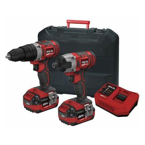 Lumberjack Cordless 20V Twin Kit Impact & Hammer Drill 2x 4.0Ah Batteries & Charger