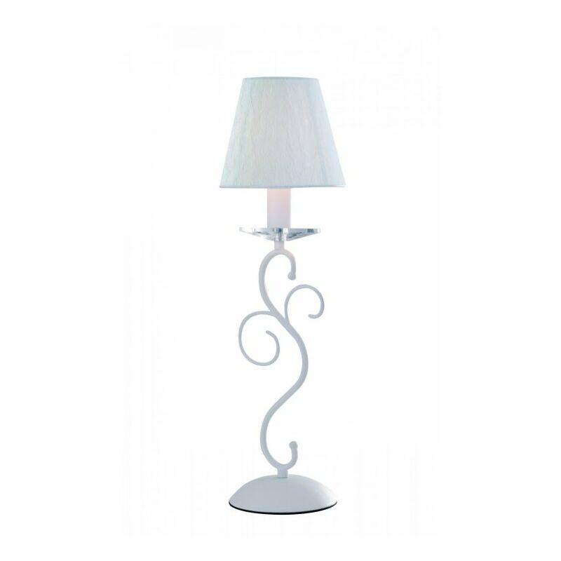 Lampada da tavolo bianca con decorazione elegante e raffinata 40 watt E14