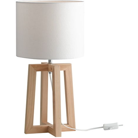 Lampada Da Tavolo In Legno Naturale.Lume Scrivania Fusto Legno Naturale Paralume Tessuto Bianco Lampada Da Tavolo Moderna E27 Ambiente I Berry L