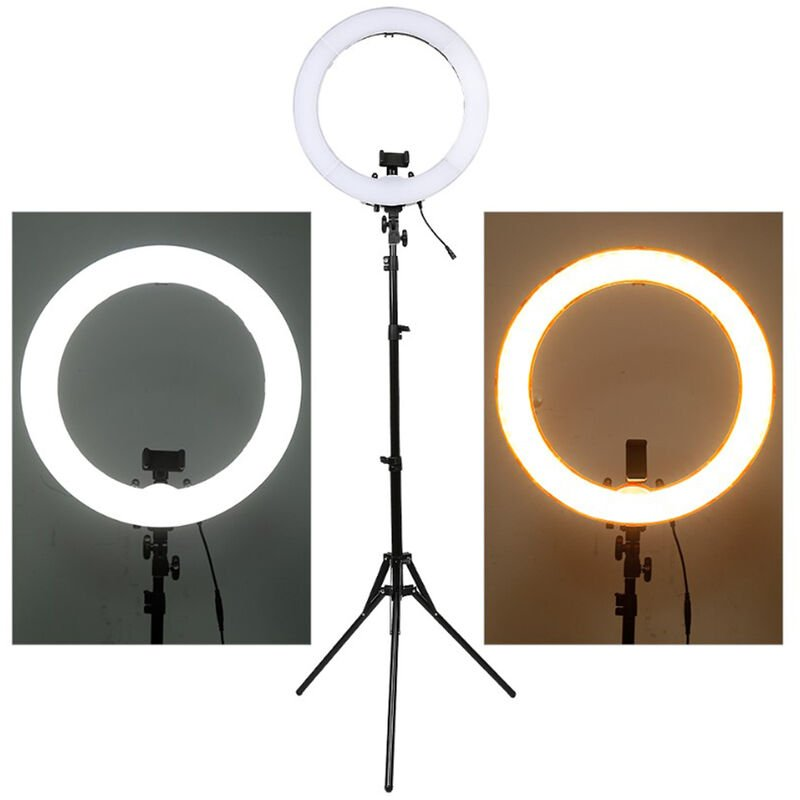 Jeobest - Lumière Anneau 14 Pouces Réglable Vidéo Eclairage Kit avec pied réglable en hauteur de 2.2 m / trois modes d'éclairage LED - Noir