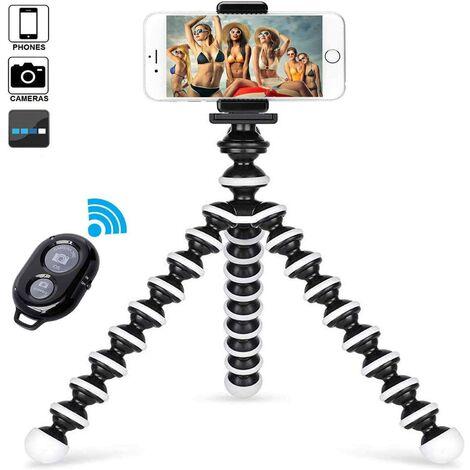 Lumière de bague Bluetooth avec trépied pour YouTube, vidéo et maquillage, mini caméra LED avec support pour téléphone portable, lampe LED de bureau avec 3 modes d'éclairage et 11 niveaux de luminosité.