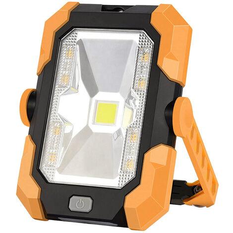 Lumière de Camping Projecteur LED Rechargeable Charge solaire Projecteur Chantier 20W 1500LM Lampe de Travail Lanterne Portable avec Rotation à 360°