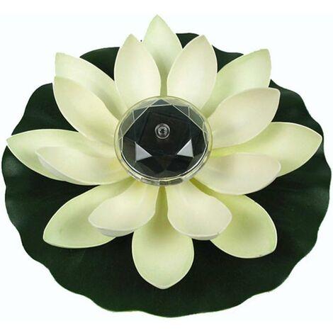 Lumière de Lotus, décoration de Bassin Flottant Solaire Fleur de Lotus LED changeant de Couleur de Fleurs Nuit Lampe de lumière pour Pool Party Garden House(blanc)