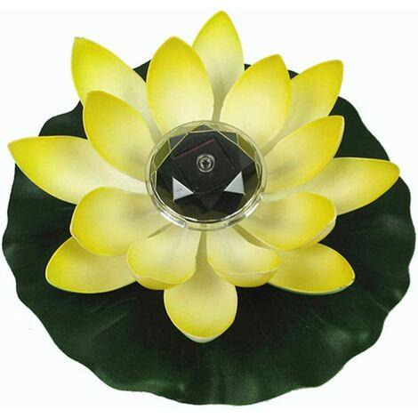 Lumière de Lotus, décoration de Bassin Flottant Solaire Fleur de Lotus LED changeant de Couleur de Fleurs Nuit Lampe de lumière pour Pool Party Garden House(jaune)