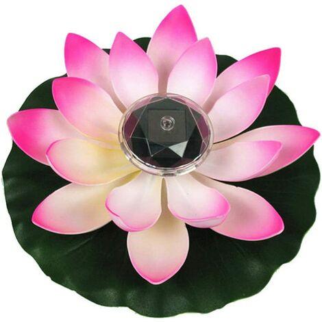Lumière de Lotus, décoration de Bassin Flottant Solaire Fleur de Lotus LED changeant de Couleur de Fleurs Nuit Lampe de lumière pour Pool Party Garden House(rose)