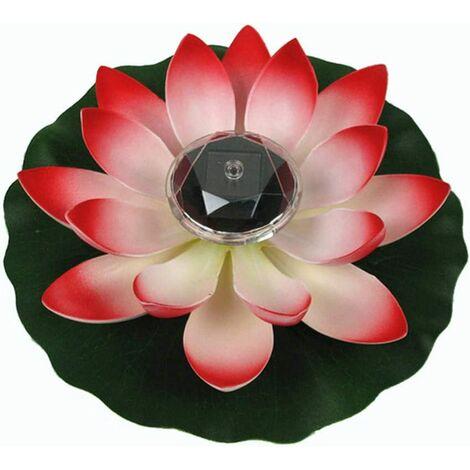 Lumière de Lotus, décoration de Bassin Flottant Solaire Fleur de Lotus LED changeant de Couleur de Fleurs Nuit Lampe de lumière pour Pool Party Garden House(Rouge)