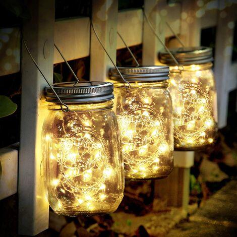 """main image of """"Lumière solaire - 3 pièces Mason Jar light 30 LED étanche lumière solaire lampes suspendues de jardin LED pots en verre de lumière solaire Lampes solaires à l'extérieur pour la décoration de jardin extérieur, décoration de vacances de Noël (blanc chaud)"""""""