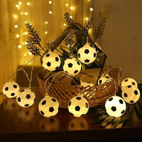 Lumières de ficelle de football, lampe de corde en forme de football de LED, guirlandes drôles Lumières intérieures de guirlande de lumières de maison pour la célébration du football du monde.