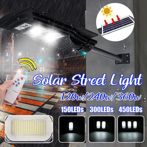 Lumières de mouvement solaires extérieures IP67 imperméables à énergie solaire, faciles à installer, lumières de sécurité pour porte d'entrée, cour, garage, terrasse, cl?ture (noir, 300Led 240W)
