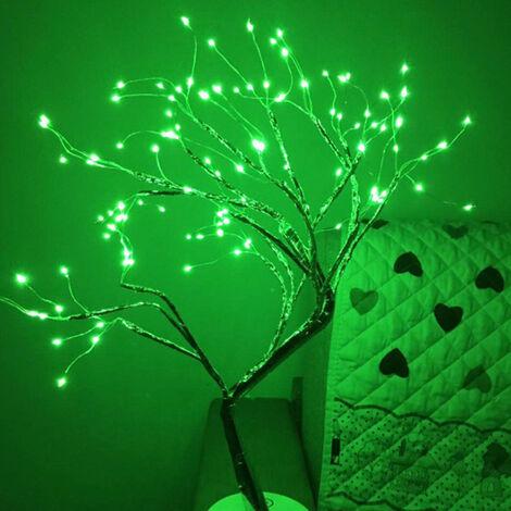 Lumieres de Noel LED fil de cuivre lampe arbre lampe batterie + USB double usage, style 12 vert 108 lumieres-arbre de feu fleur d'argent expedie sans piles