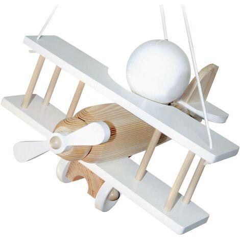 """main image of """"Luminaire à suspendre avion Waldi Leuchten 27062 E27 15 W blanc naturel V035921"""""""