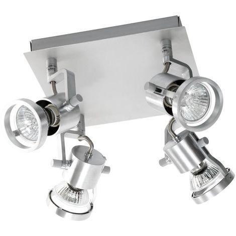 Luminaire Applique carré Plafonnier chrome 4 lumières orientables