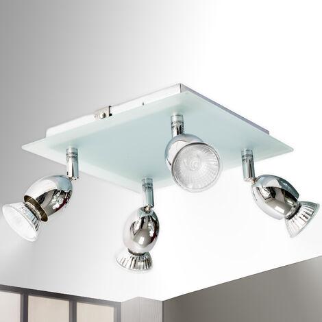 Luminaire Applique Plafonnier carre en verre éclairage 4 spots orientables