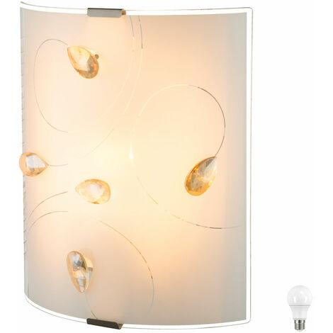 Luminaire chambre coucher cristaux d'éclairage verre Lampe couloir ambre salon dans l'ensemble LED