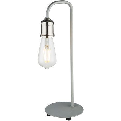 Luminaire de table de style industriel Lampadaire de lecture de nuit avec veilleuse Vintage Lampe grise Globo 15413T