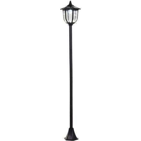 Luminaire extérieur solaire lampadaire lanterne classique LED 60 Lm max. dim. 26L x 26l x 177H cm noir