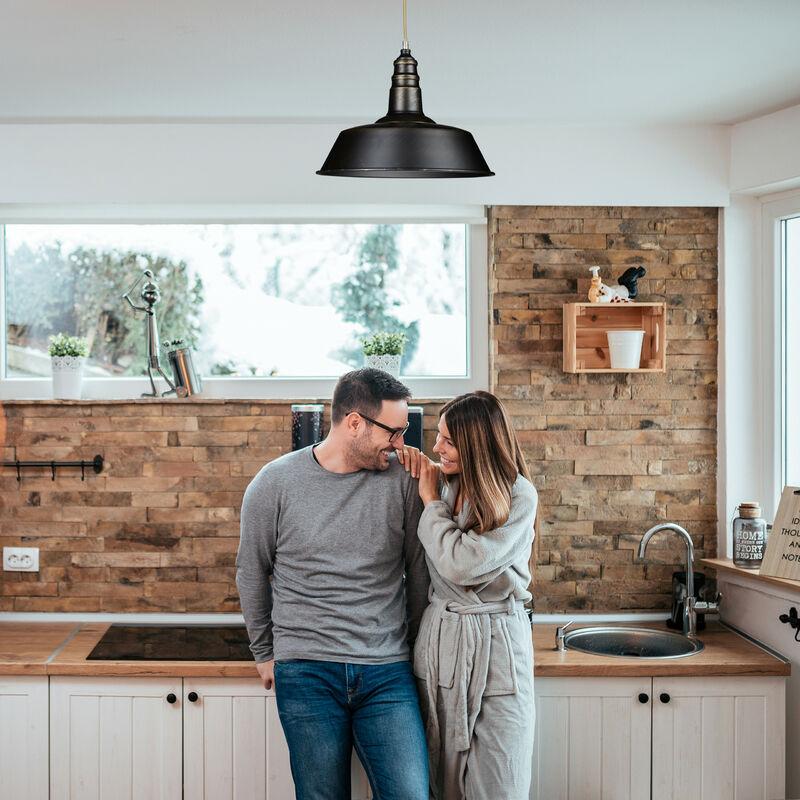 Luminaire lampe à suspension plafonnier de style industriel hauteur ajustable vintage retro socle en bois abat jour métal optique laiton