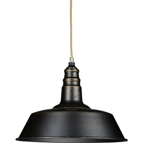 Luminaire lampe à suspension plafonnier de style industriel hauteur ajustable vintage retro socle en bois abat-jour métal optique laiton