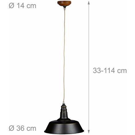 Luminaire lampe à suspension plafonnier style industriel hauteur réglable abat-jour en fer noir - Noir