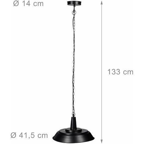 Luminaire lampe à suspensions abat-jour plat et rond métal noir mat intérieur bronze chaîne de suspension métal noire - Bronze