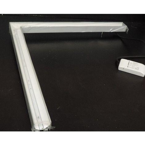 Luminaire LED 18W suspendu en angle 90° profilé 590x590mm 4000K 1800lm pour ligne continue 230V IK07 IP20 SUNNY-M SUSP