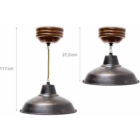 Luminaire lustre suspension lampe de plafond plafonnier de style industriel abat-jour métal diamètre 27 cm - Métal