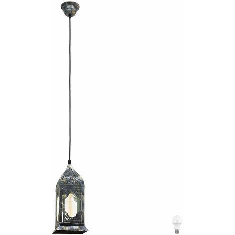 Luminaire plafond verre salle à manger cuisine lampe suspendue argent lanterne dans l'ensemble LED