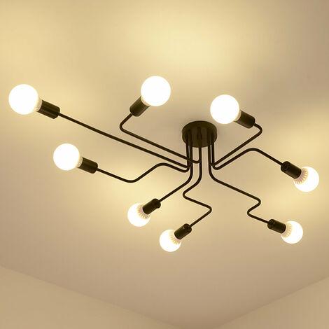 Luminaire Plafonnier 8 Lumière E27 Vintage Industrial , Edison 8 Têtes Metal Fer Lampes Vintage Industrial Lampe de suspension Rétro Salle de Salle à Manger Chambre D'hôtel Accueil Accessoires D'éclairage,Noir
