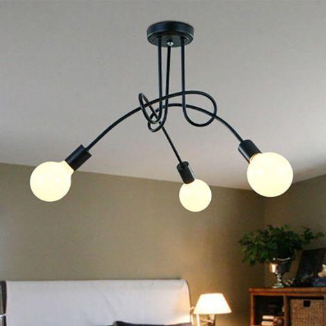 Luminaire Plafonnier Edison 3 Têtes Metal Fer Industriel Creative Noir , Lampe de suspension Vintage Luminaire E27 Rétro Salle de Salle à Manger Chambre D'hôtel Accueil Accessoires D'éclairage