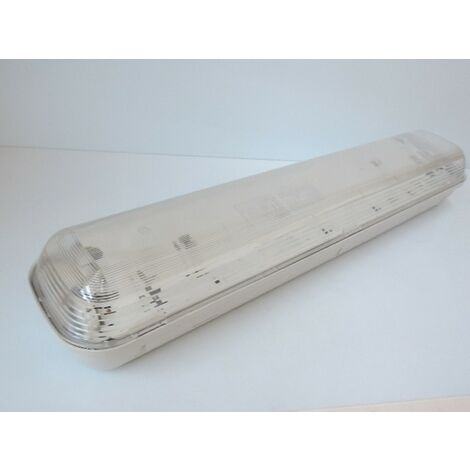 Luminaire réglette étanche 600mm pour 2 tubes T8 LED (non incl) 230V avec vasque 850° IK08 IP65 AIRIS LEDLUM2060IP