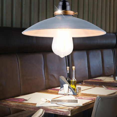 Luminaire rétro salon salle à manger lampe pendentif Plafonnier métal Spot gris couloir Globo 15026