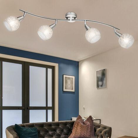 Luminaire salon chambre d'amis lampe verre spots mobiles décor fleurs de givrés dans l'ensemble DEL