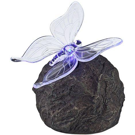Luminaire solaire en forme d'une pierre avec un papillon pour votre jardin