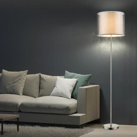 Luminaire sur pied lampadaire textile gris nickel mat éclairage interrupteur salle de séjour