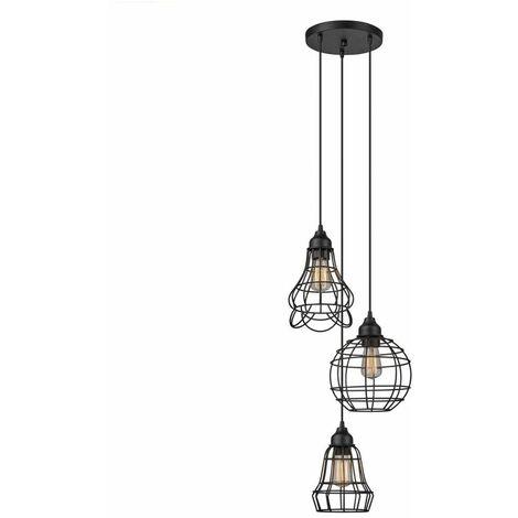 Luminaire suspendu industriel en Metal suspendu vintage en cage à 3 Lumieres luminaire suspendu rustique