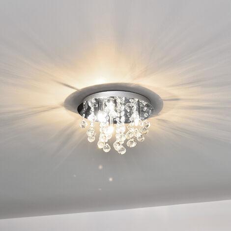 Luminaire Suspendu Plafonnier Métal et Cristal Artistique Chrome Argent 3 xG9 ø 28 cm