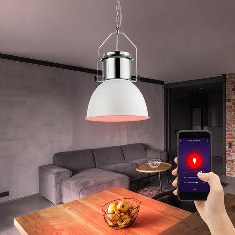 Luminaire suspendu rétro à LED RGB LED dimmable salon suspendu lumière blanche contrôlable via téléphone portable