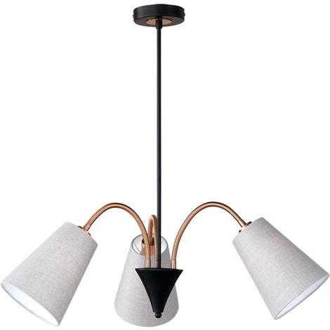 Luminaire suspendu salle à manger salon lampe textile naturel spots flexible Honsel Leuchten 69363