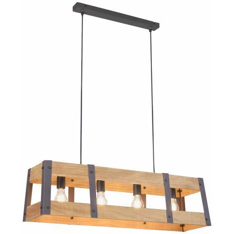 Luminaire suspendu vintage en bois pendule plafonnier fer salon éclairage lumières direct 15721-79