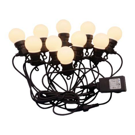 Luminaire suspension caténaire 10mt avec 20 Ampoules mini Globo LED 10W