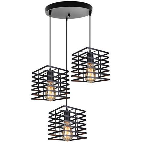 Luminaire Suspension forme Cage Ø 22cm Lustre Abat jours Métal Fer Style vintage - Noir