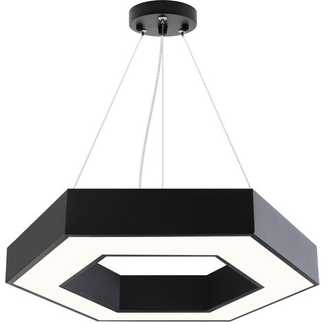 Luminaria colgante o superficie XAGON, Ø600mm, 50W, negro, Blanco neutro