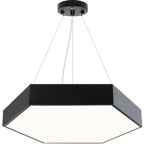 Luminaria colgante o superficie XAGON FULL, Ø600mm, 50W, negro, Blanco neutro